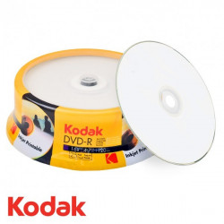 CD-R InkJet Printable Full Face Blanco Kodak Tarrina 25 uds