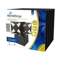 Pack 5 MediaRange CD Jewelcase para 4 disco, 22mm, bandeja preta