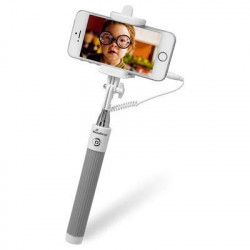 MediaRange Universal Selfie-Stick for Smartphones, with cable, white/grey