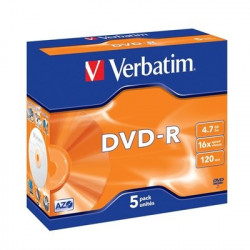 Verbatim DVD-R AZO 4.7GB 16X MATT SILVER SURFACE Jewelcase Pack 5