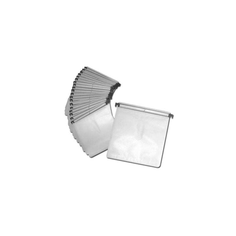 Hanging Sleeves with Plastic Bars holds 2 Discs for Aluminium DJ Cases White