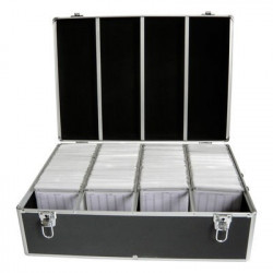 MediaRange Media storage case for 1.000 discs, aluminum look, with hanging sleeves, black