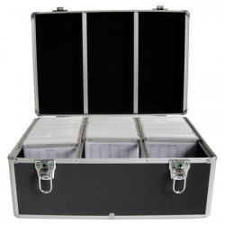 Media storage case for 500 discs, aluminum look, with hanging sleeves, black