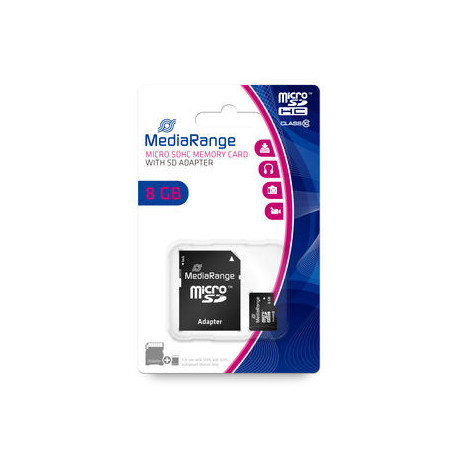 MediaRange micro SDHC memory card, Class 10, with SD adapter, 8GB