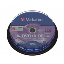 Verbatim DVD+R DOUBLE LAYER 8.5GB 8X MATT SILVER SURFACE Cake 10