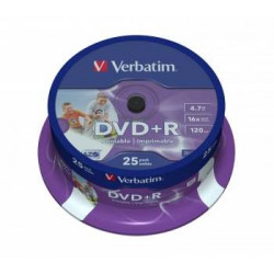 Verbatim DVD+R AZO 4.7GB 16X WIDE PRINTABLE SURFACE Cake 25
