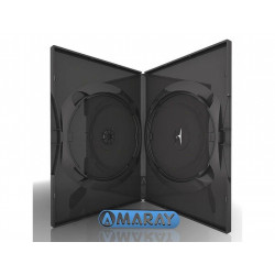 Amaray Capa DVD para 2 discos, 14mm, with clips, Preto Brilhante