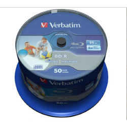 Verbatim BD-R HTL SINGLE LAYER DL+ 25GB 6X WIDE PRINTABLE SURFACE HARD COAT Cake 50
