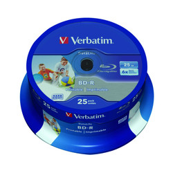 Verbatim BD-R HTL SINGLE LAYER DL+ 25GB 6X WIDE PRINTABLE SURFACE HARD COAT Cake 25
