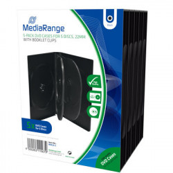 Pack 5 Mediarange DVD Box for 5 Discos, Black