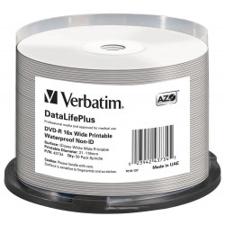 Verbatim DVD-R AZO 4.7GB 16x DL+ wide glossy waterproof printable surf. Non-ID Cake 50